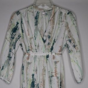 Liz Lange Maternity Tie Back Abstract Print Blouse